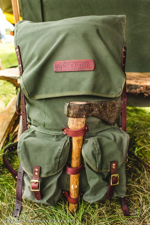 The Ultimate Bushcraft Pack Front View with Axe