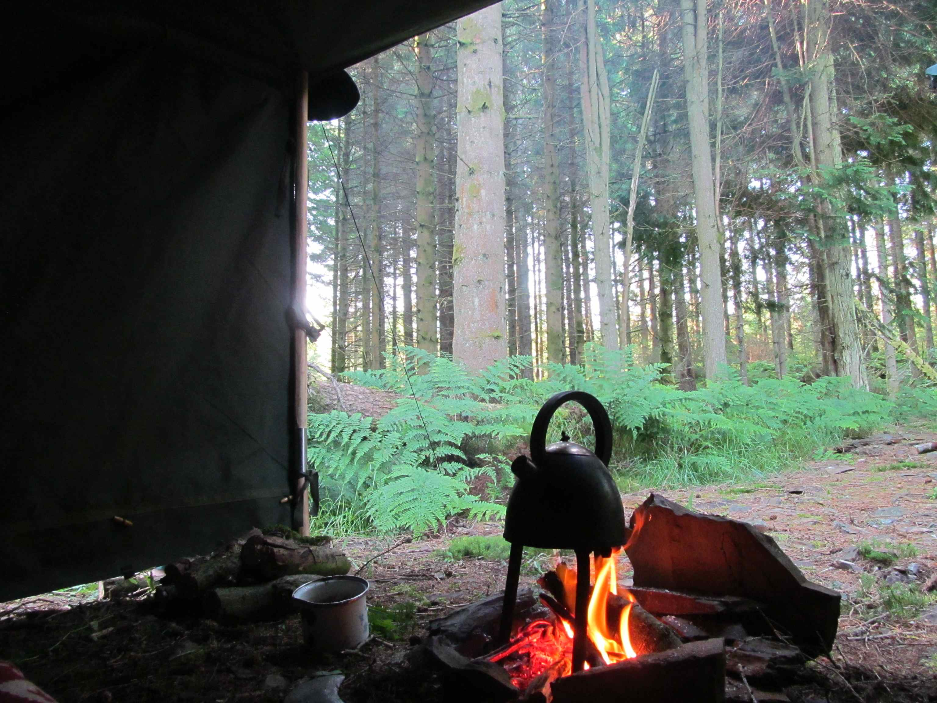 Morning Kettle on Campfire
